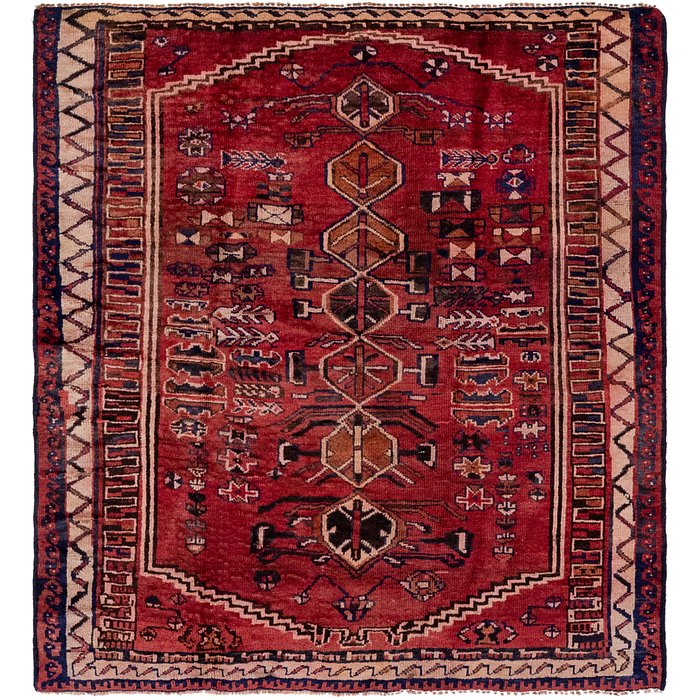 4' 10 x 5' 5 Shiraz Persian Square Rug