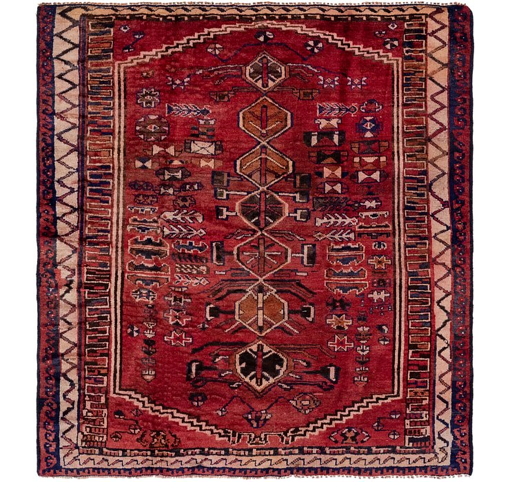4' 10 x 5' 5 Shiraz Persian Square Rug