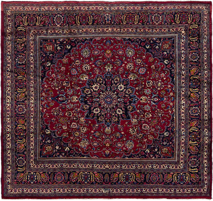 HandKnotted 9' 3 x 9' 10 Mashad Persian Square Rug