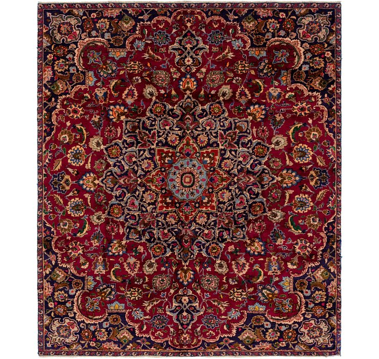 HandKnotted 6' 8 x 7' 9 Mashad Persian Square Rug