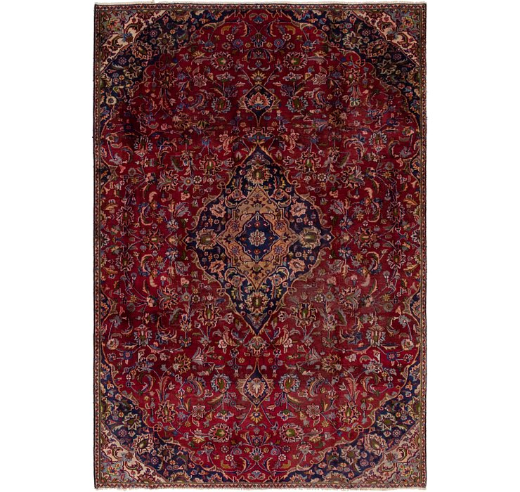 HandKnotted 6' 4 x 9' 8 Mashad Persian Rug