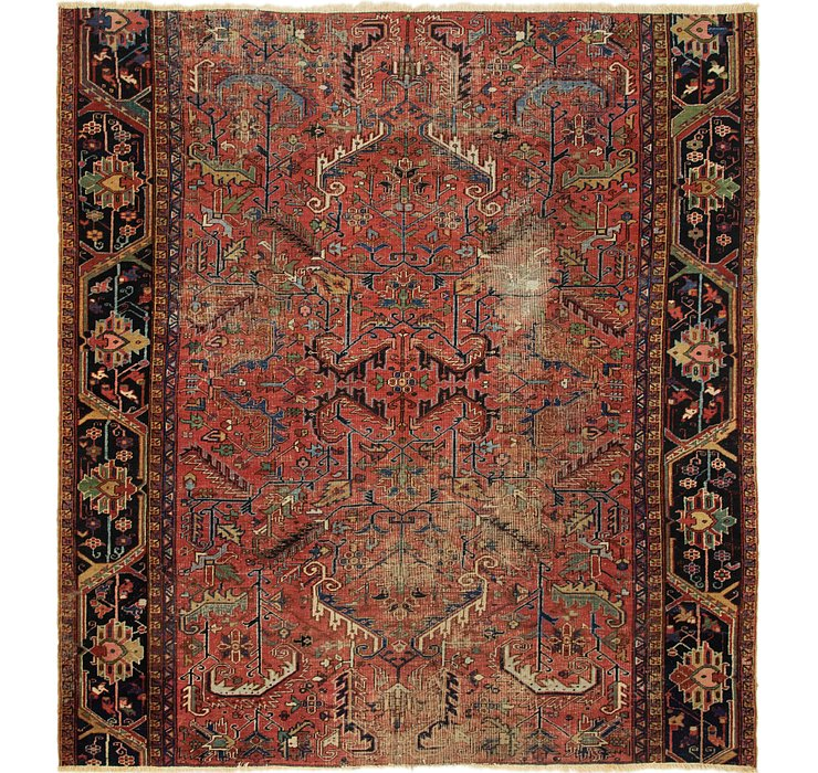 HandKnotted 9' x 9' 9 Heriz Persian Square Rug
