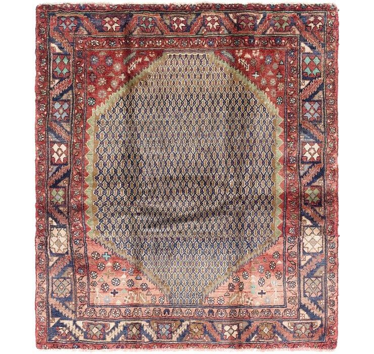 4' 9 x 5' 6 Hamedan Persian Square ...