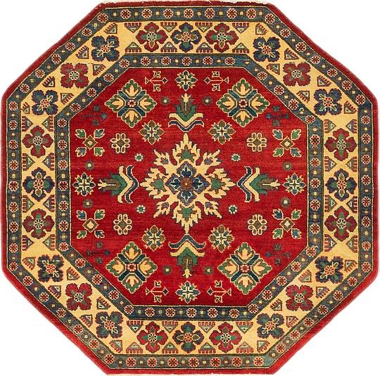 Red  5' x 5' Kazak Octagon
