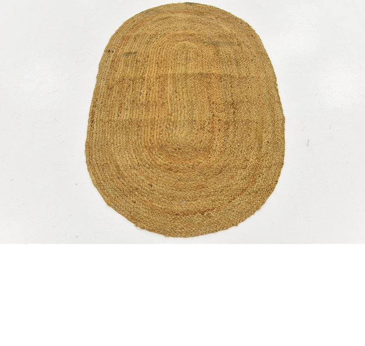 3' 2 x 4' 10 Braided Jute Oval Rug