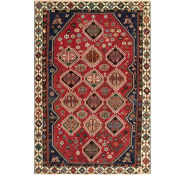 6' x 9' 4 Shiraz Persian Rug