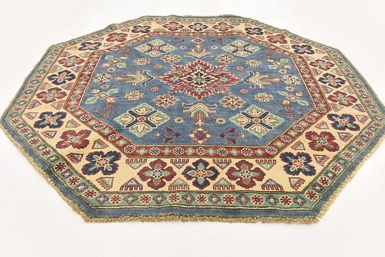 Blue  4' 9 x 4' 10 Kazak Octagon