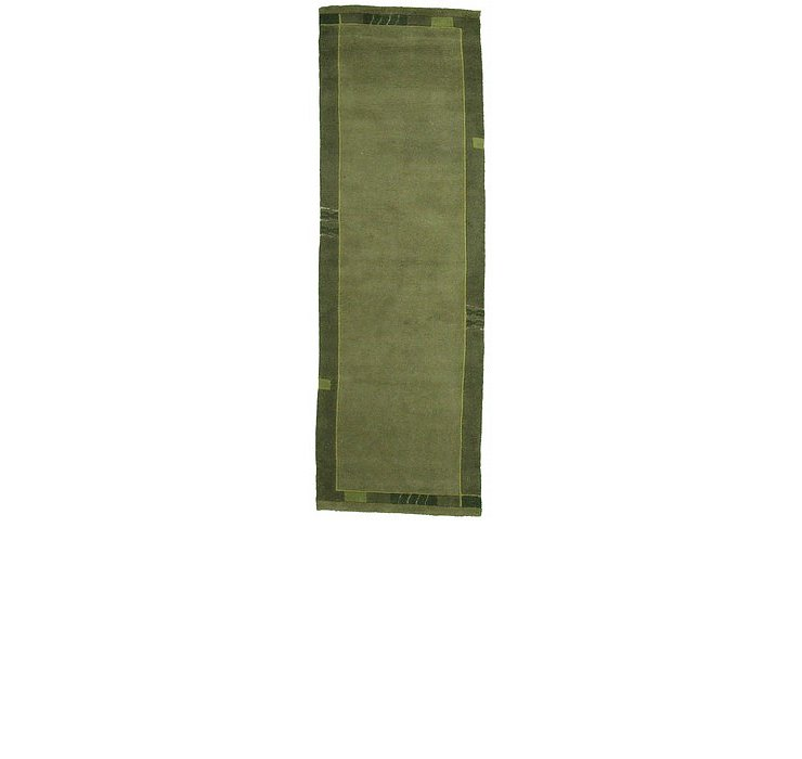 Green Modern Tibet Runner Rug