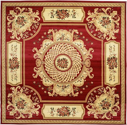 Burgundy 9 10 X 9 10 Classic Aubusson Square Rug Area Rugs