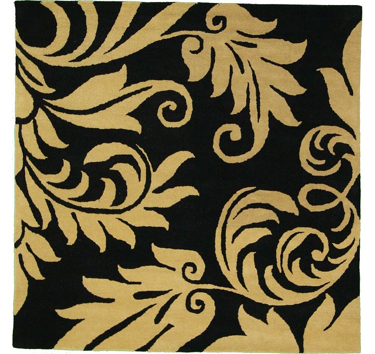 Black Floral Agra Square Rug