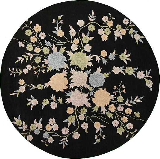 Black 11 11 X 11 11 Floral Agra Round Rug Area Rugs