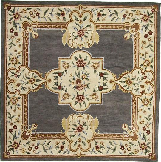 Gray 11 10 X 11 10 Classic Aubusson Square Rug Area Rugs Esalerugs