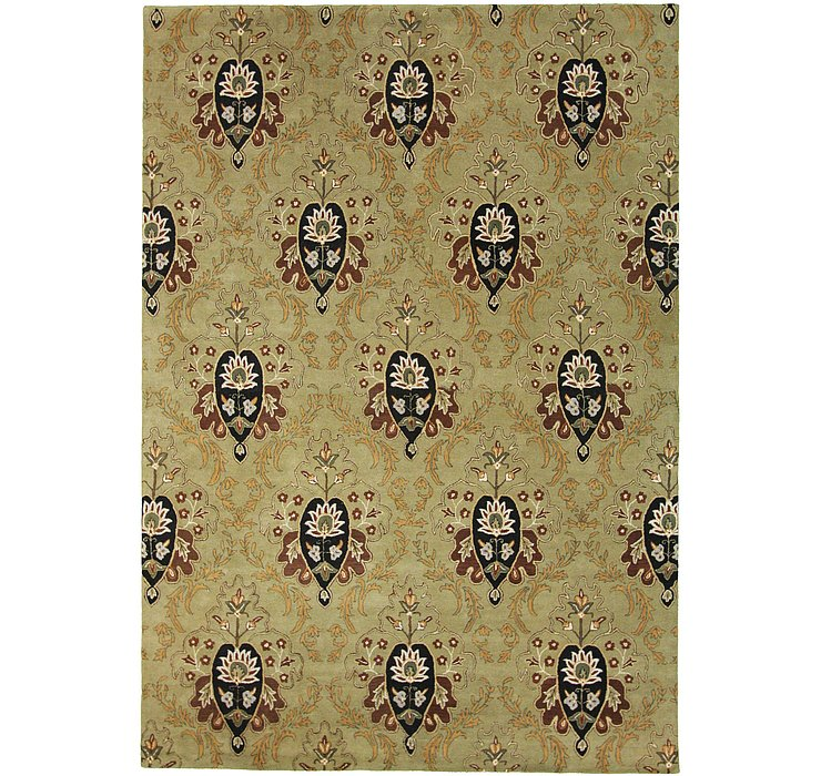 Green Floral Agra Rug
