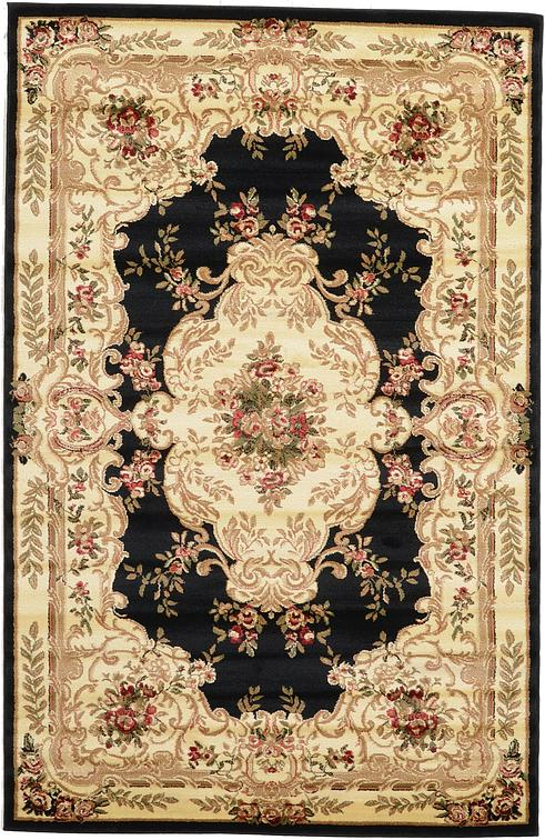 black 5 39 x 8 39 classic aubusson rug area rugs esalerugs. Black Bedroom Furniture Sets. Home Design Ideas