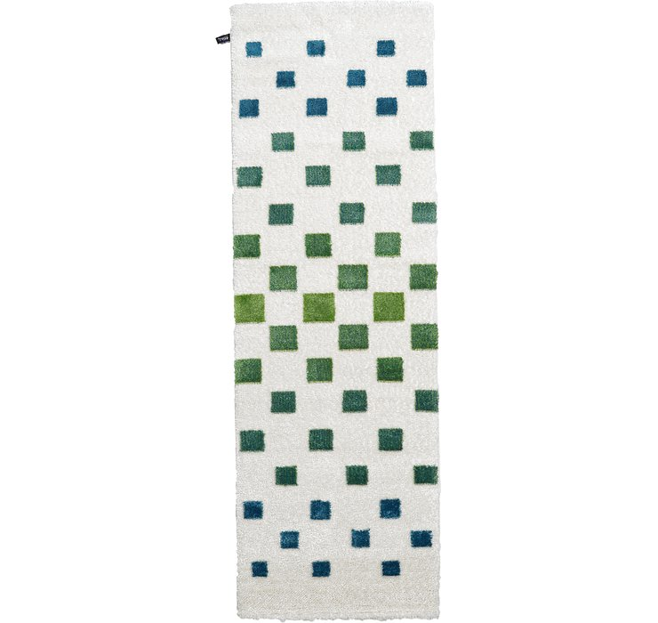 3' 3 x 9' 10 Abstract Shag Runner Rug