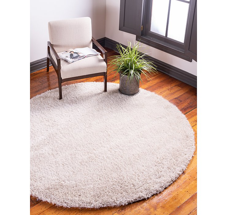 6' x 6' Luxury Solid Shag Round...