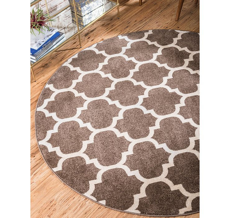 Brown Lattice Round Rug