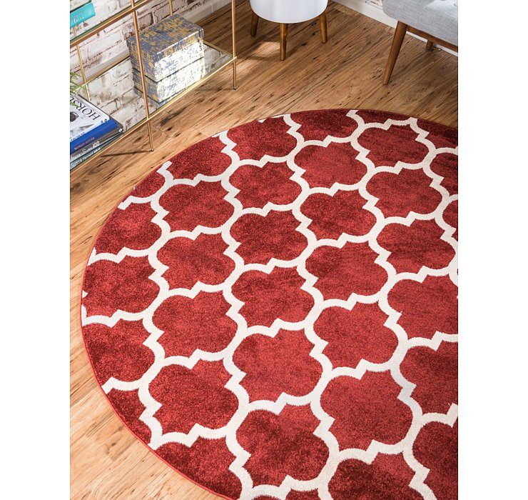 Dark Terracotta Lattice Round Rug
