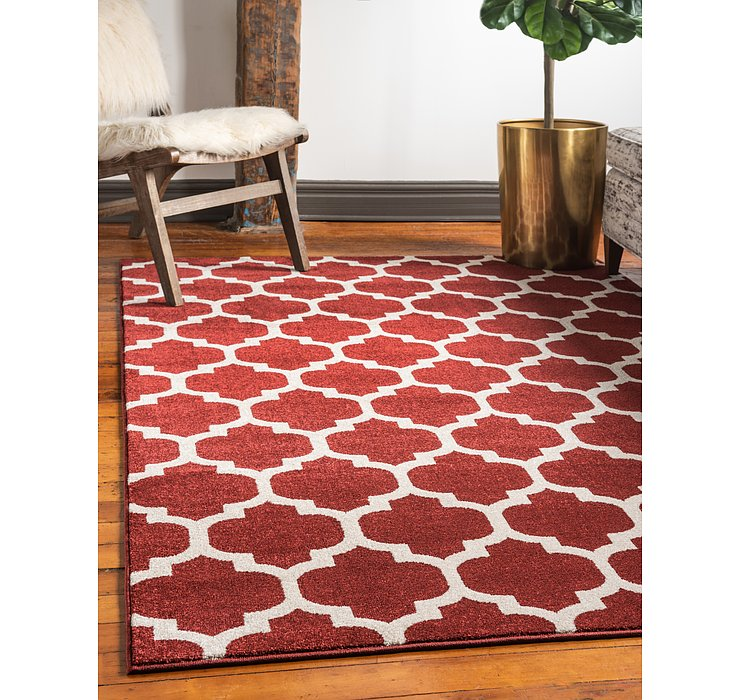 Dark Terracotta Lattice Rug