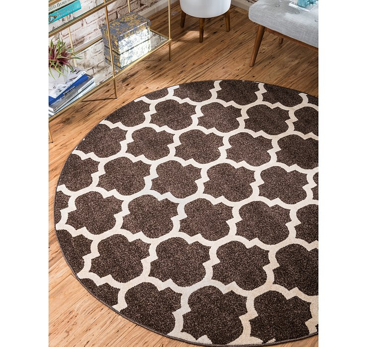 Chocolate Brown Lattice Round Rug