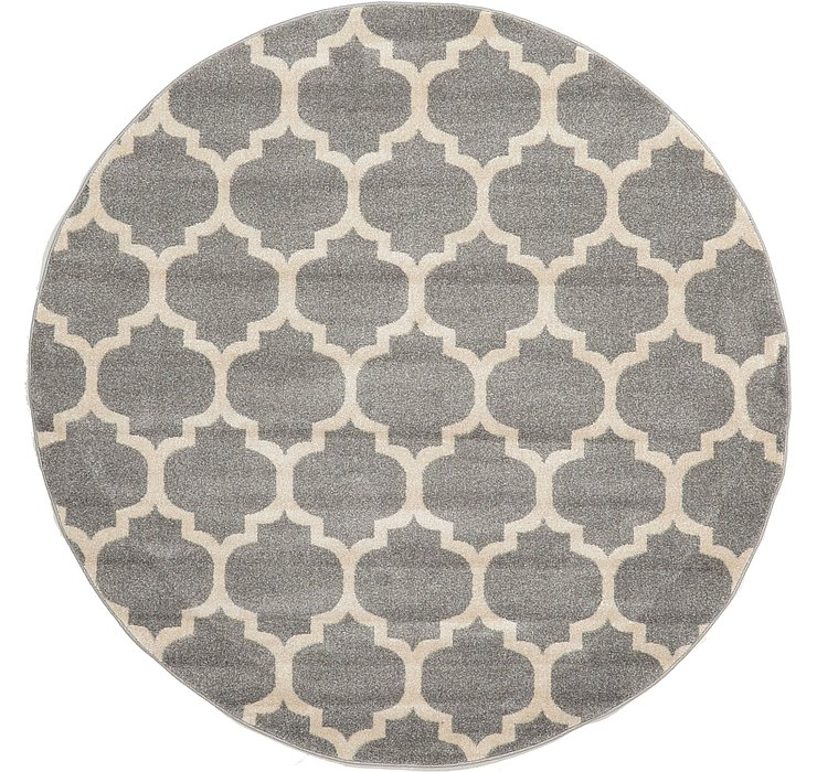 Dark Gray Lattice Round Rug