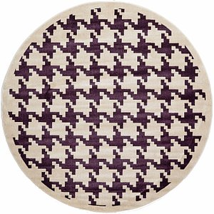 Unique Loom 8' x 8' Houndstooth Round Rug