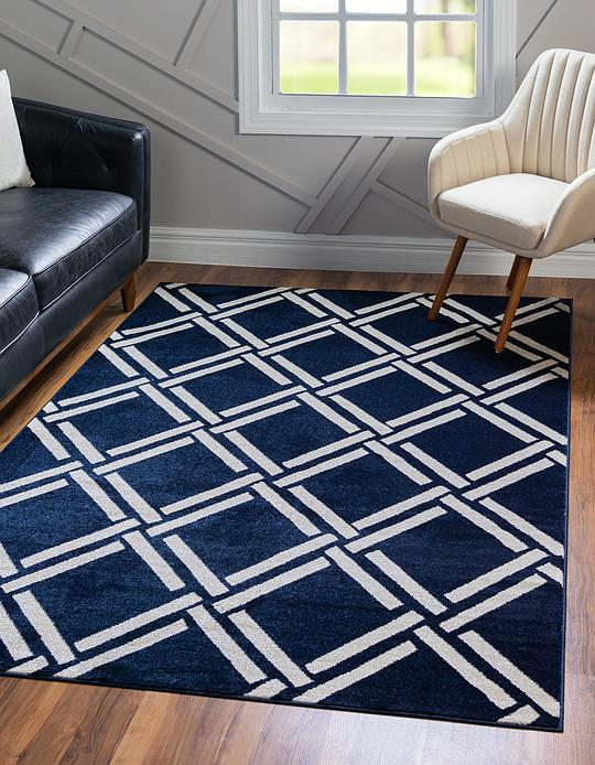 Navy Blue 152cm X 245cm Trellis Rug Area Rugs Irugs Nz