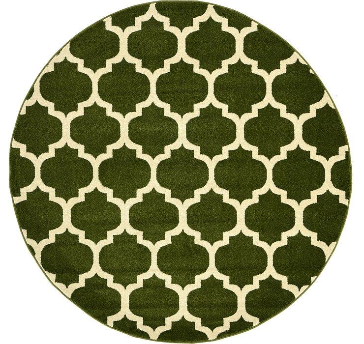 Dark Green Lattice Round Rug