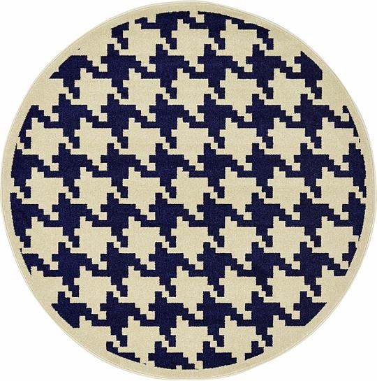 Navy Blue 6 X 6 Houndstooth Round Rug Area Rugs