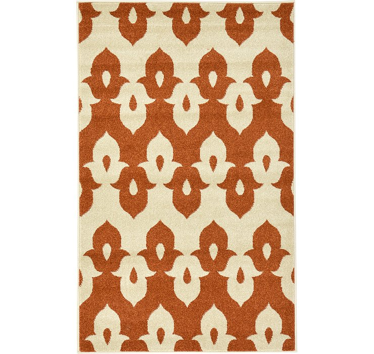 Rust Red Ikat Rug