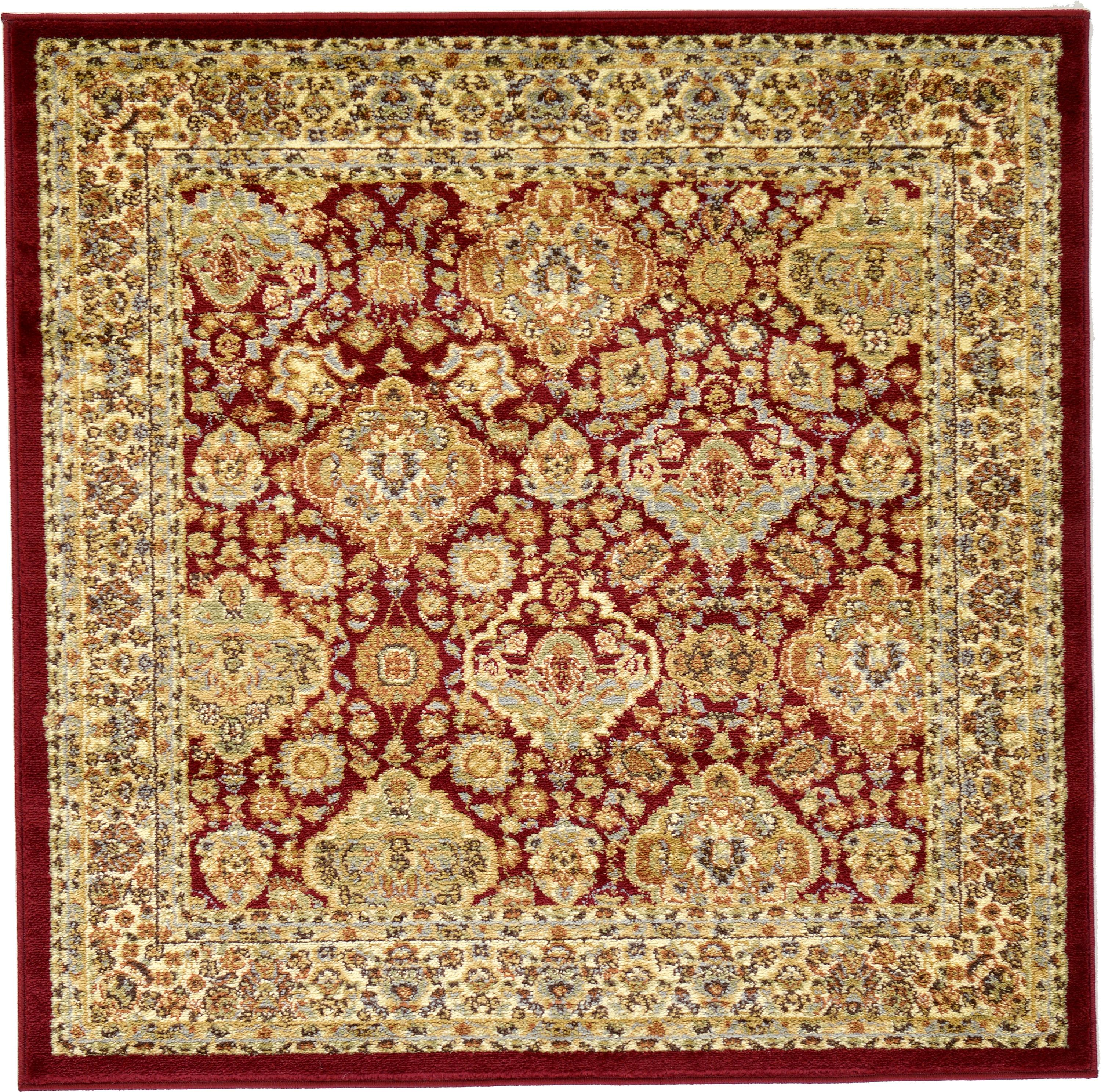 Red 4' X 4' Classic Agra Square Rug