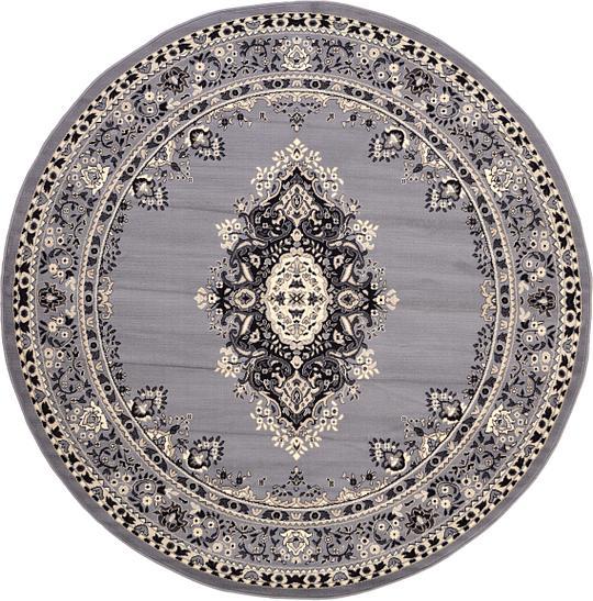 Gray 245cm X 245cm Mashad Design Round Rug Area Rugs