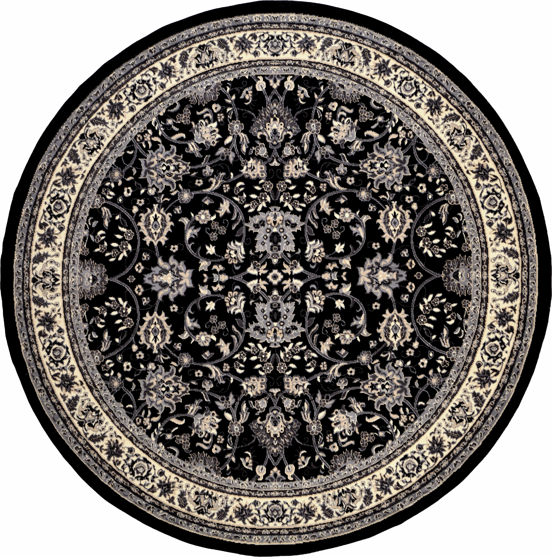 Black 8 X 8 Kashan Design Round Rug Irugs Uk