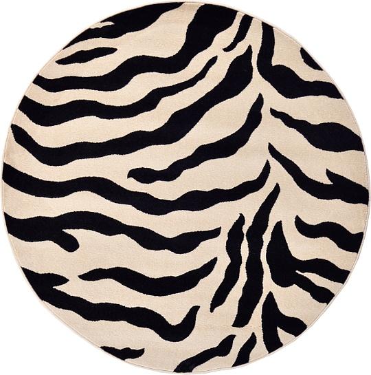 Ivory 5' X 5' Zebra Round Rug