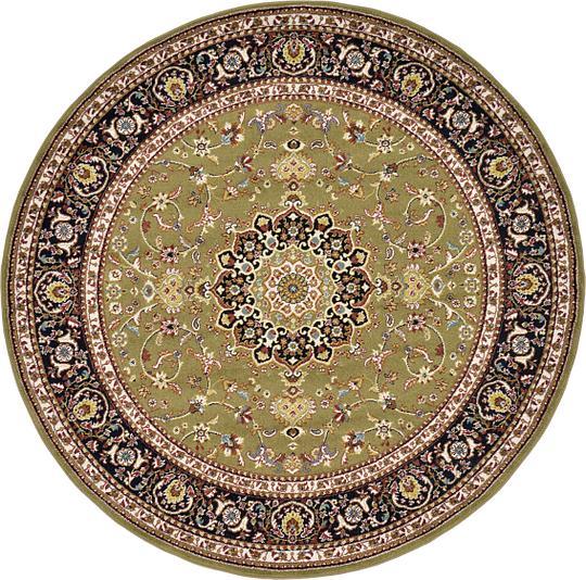 Green 6' 7 X 6' 7 Isfahan Design Round Rug