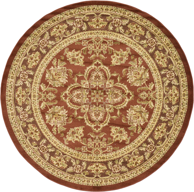 Light Brown 8' X 8' Classic Agra Round Rug