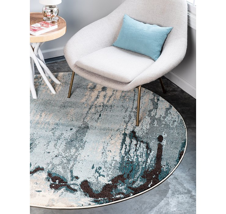 Light Blue Hyacinth Round Rug