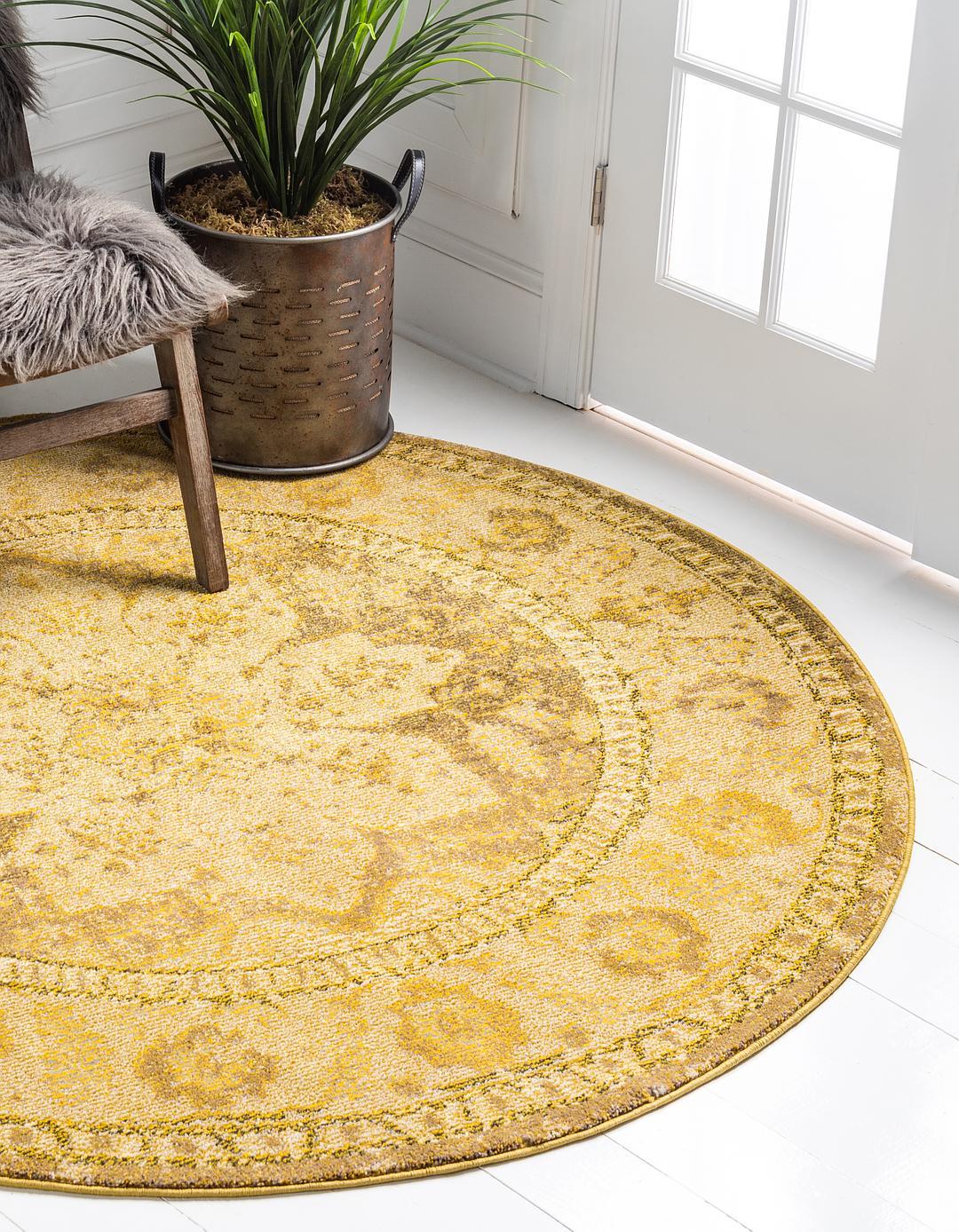 Main 6 x 6 fleur round rug photo