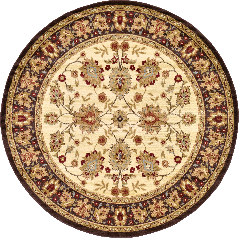 Cream 8' X 8' Classic Agra Round Rug