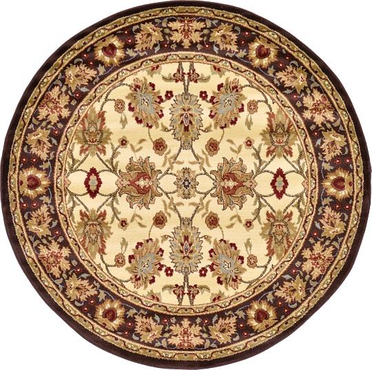 Cream 6' X 6' Classic Agra Round Rug