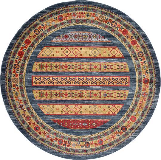 Washable Area Rugs Canada: Blue 8' X 8' Kashkuli Gabbeh Round Rug