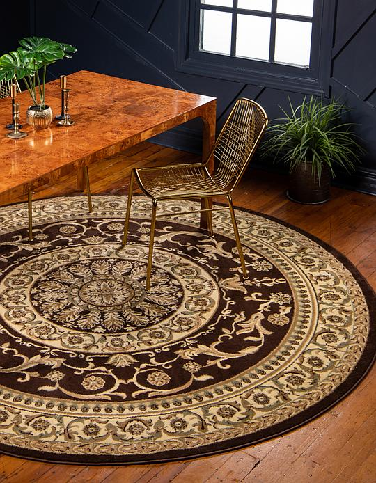 Brown 6 X 6 Classic Aubusson Round Rug Area Rugs