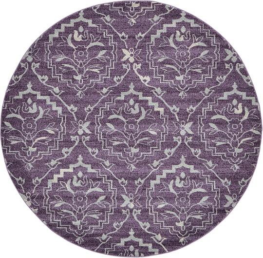 Purple Circle Rugs: Purple 8' X 8' Damask Round Rug