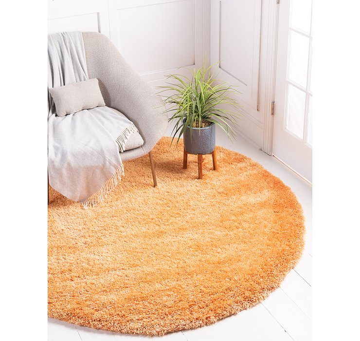 Orange Luxury Solid Shag Round...