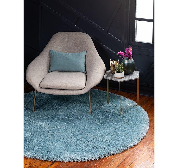 Light Blue Luxury Solid Shag Round...