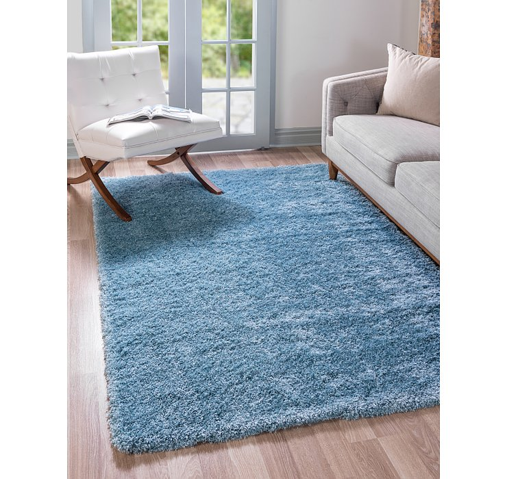 Light Blue Luxury Solid Shag Rug