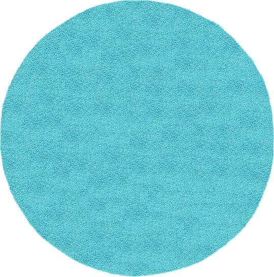 Turquoise 8 X 8 Solid Frieze Round Rug Area Rugs
