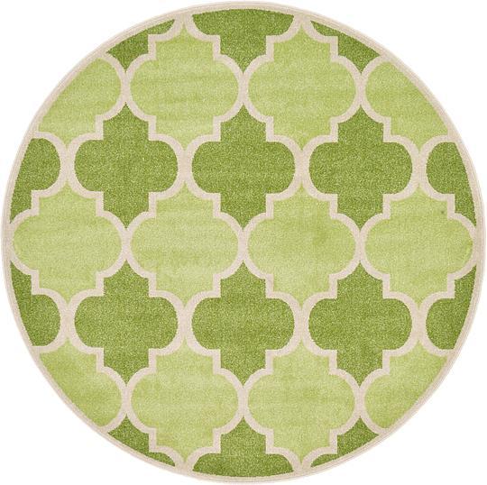 Green 6' X 6' Trellis Round Rug