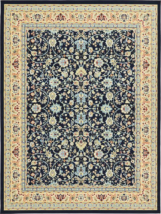 Navy Blue 9 10 X 13 Kashan Design Rug Area Rugs