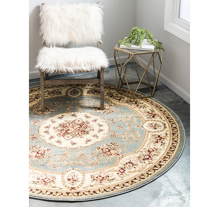 Light Blue Chateau Round Rug